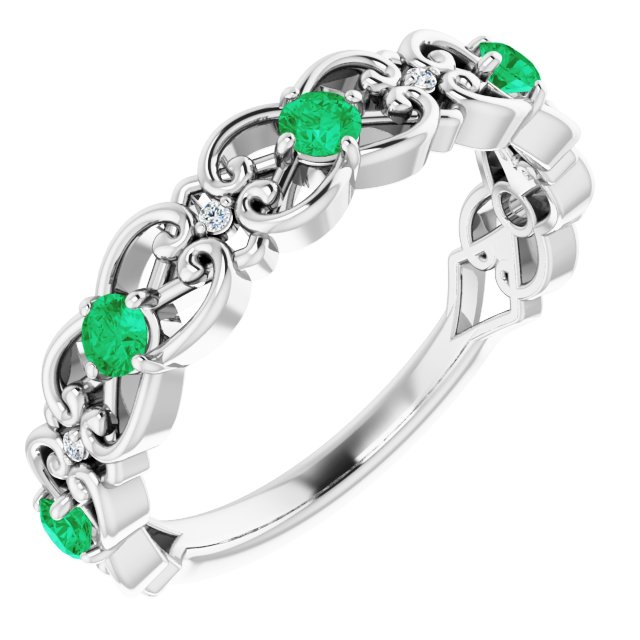 Genuine Chatham Created Emerald Ring in 14 Karat White Gold Chatham Created Emerald & .02 Carat Diamond Vintage-Inspired Scroll Ring