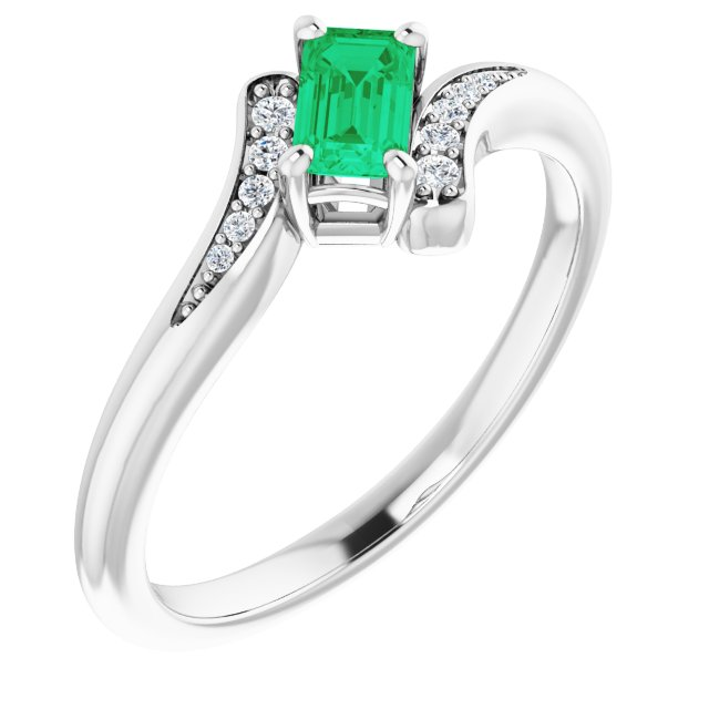 Genuine Chatham Created Emerald Ring in 14 Karat White Gold Chatham Created Emerald & .04 Carat Diamond Ring