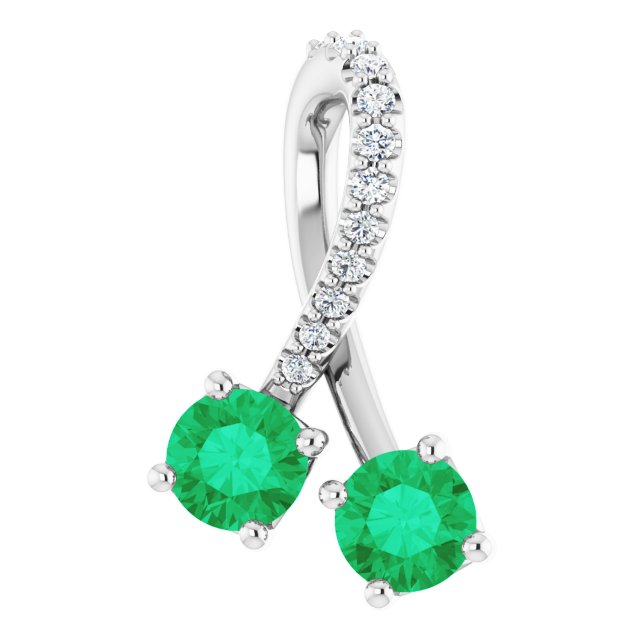 Chatham Created Emerald Pendant in 14 Karat White Gold Chatham Created Emerald & .05 Carat Diamond Pendant