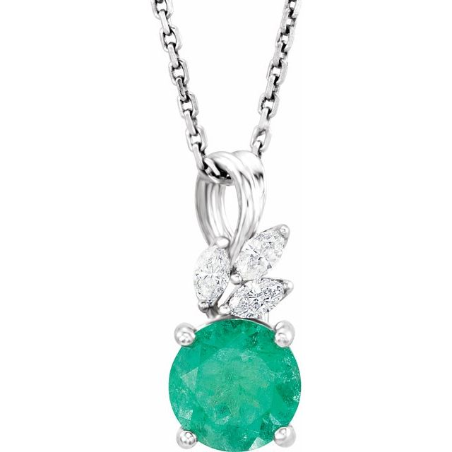 Chatham Created Emerald Necklace in 14 Karat White Gold Chatham Created Emerald & 1/10 Carat Diamond 16-18