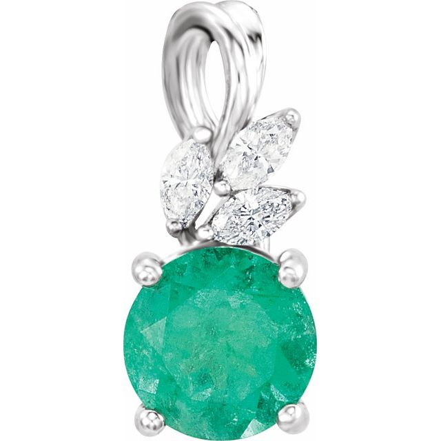 Chatham Created Emerald Pendant in 14 Karat White Gold Chatham Created Emerald & 1/10 Carat Diamond Pendant