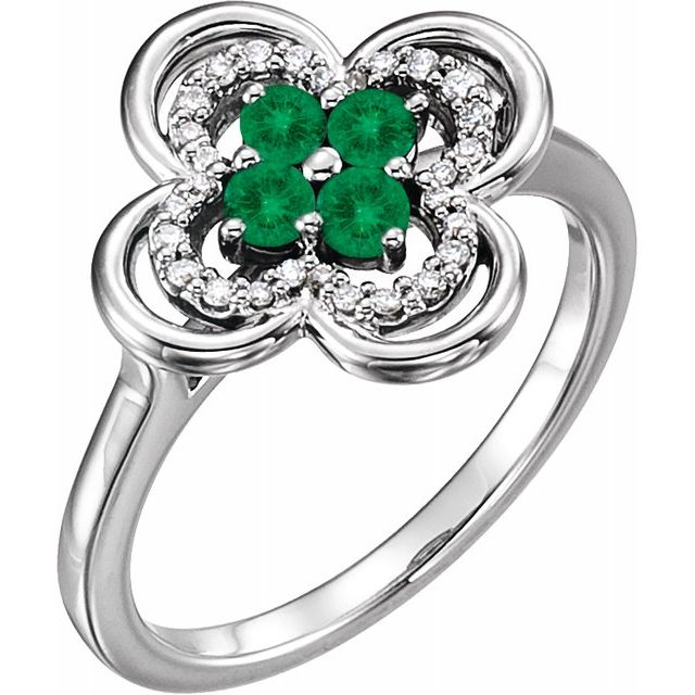 Genuine Chatham Created Emerald Ring in 14 Karat White Gold Chatham Created Emerald & 1/10 Carat Diamond Ring