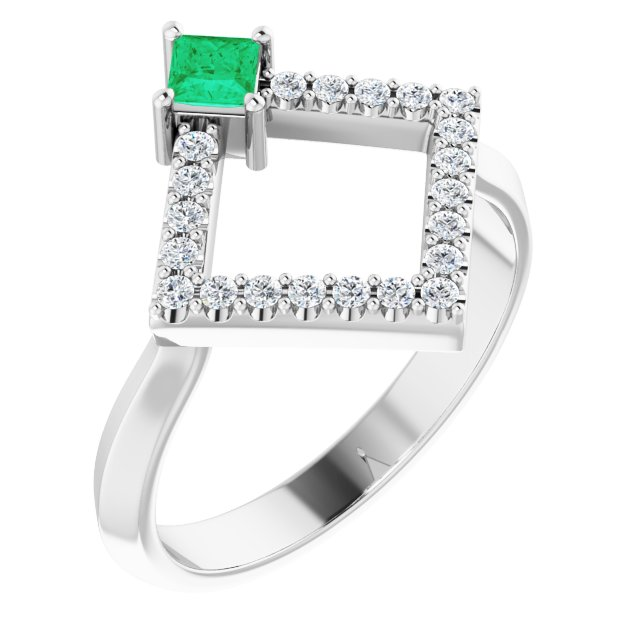 Genuine Chatham Created Emerald Ring in 14 Karat White Gold Chatham Created Emerald & 1/5 Carat Diamond Geometric Ring