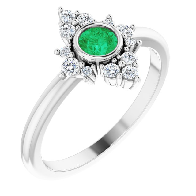 Genuine Chatham Created Emerald Ring in 14 Karat White Gold Chatham Created Emerald & 1/5 Carat Diamond Ring