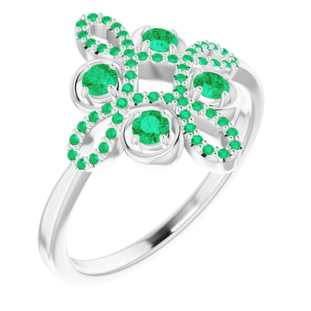 Genuine Chatham Created Emerald Ring in 14 Karat White Gold Chatham Created Emerald & 1/6 Carat Diamond Clover Ring