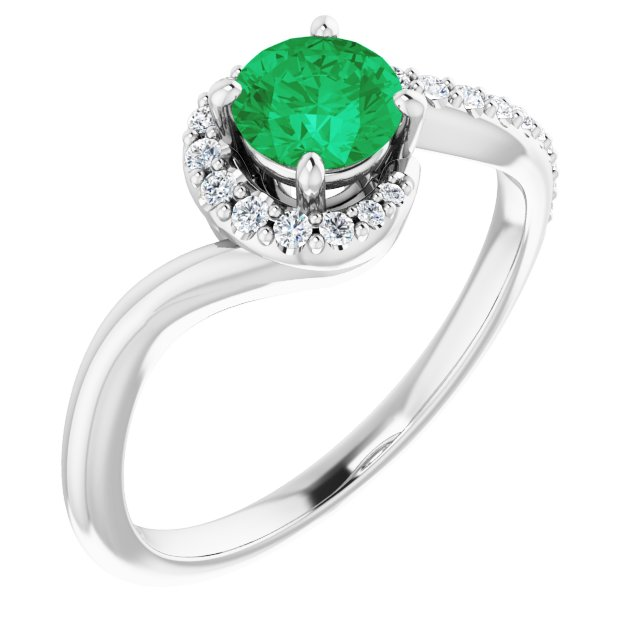 Genuine Chatham Created Emerald Ring in 14 Karat White Gold Chatham Created Emerald & 1/6 Carat Diamond Ring