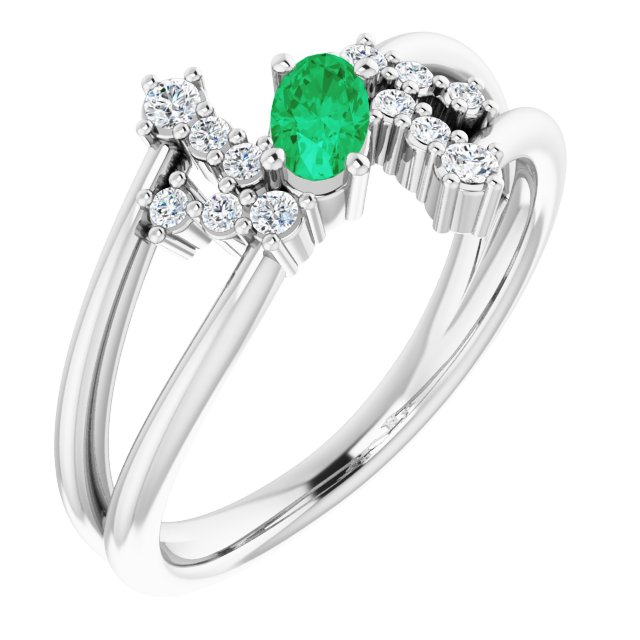 Genuine Chatham Created Emerald Ring in 14 Karat White Gold Chatham Created Emerald & 1/8 Carat Diamond Bypass Ring