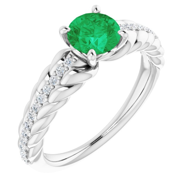 Genuine Chatham Created Emerald Ring in 14 Karat White Gold Chatham Created Emerald & 1/8 Carat Diamond Ring