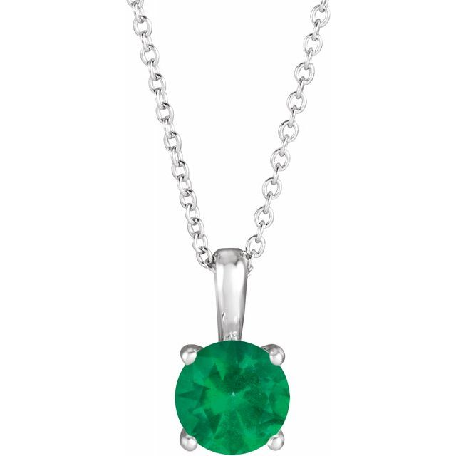 Chatham Created Emerald Necklace in 14 Karat White Gold Chatham Created Emerald 16-18