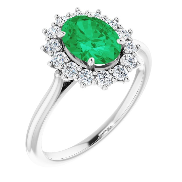 Genuine Chatham Created Emerald Ring in 14 Karat White Gold Chatham Created Emerald & 3/8 Carat Diamond Ring