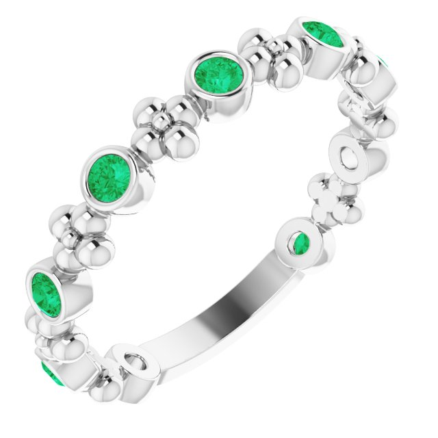 Genuine Chatham Created Emerald Ring in 14 Karat White Gold Chatham Created Emerald Beaded Ring