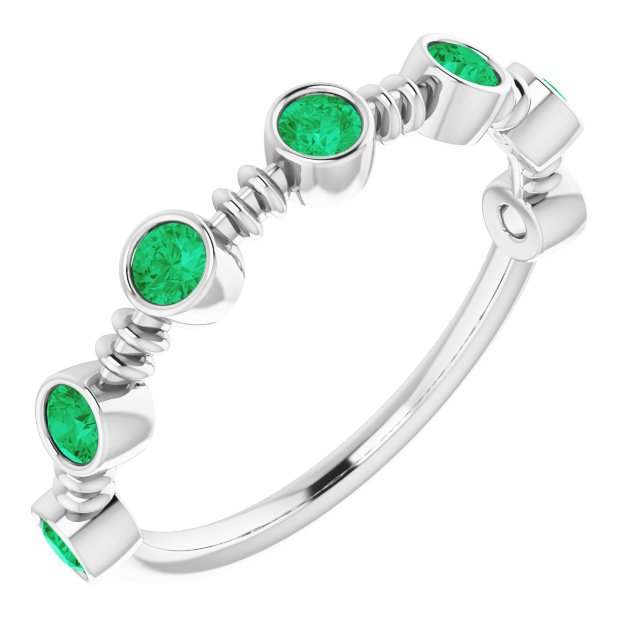 Genuine Chatham Created Emerald Ring in 14 Karat White Gold Chatham Created Emerald Bezel-Set Ring