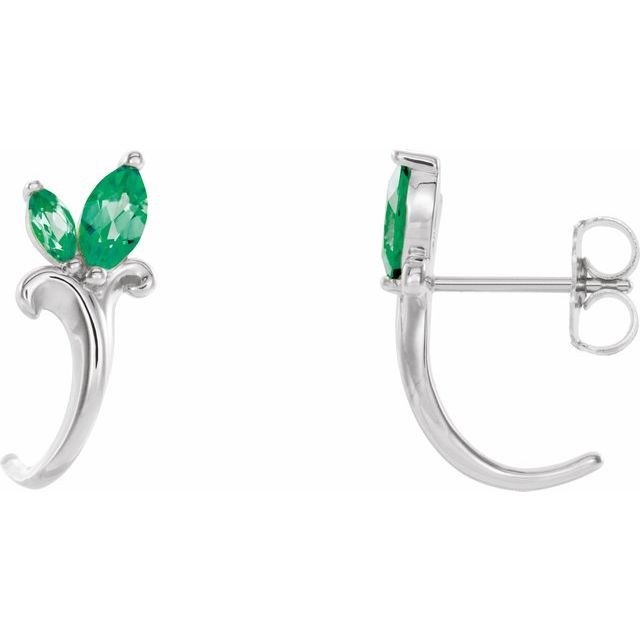 Created Emerald Earrings in 14 Karat White Gold Chatham Created Emerald Floral-Inspired J-Hoop Earrings