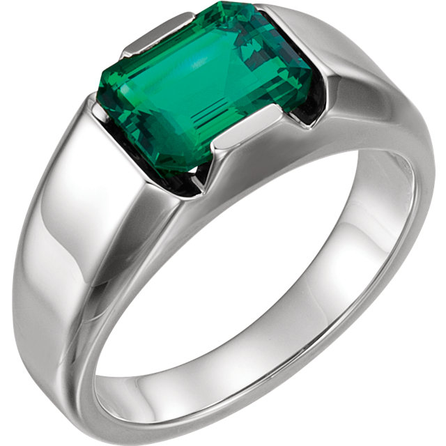 Gorgeous 14 Karat White Gold Genuine Chatham Created Created Emerald Men's Solitaire Ring