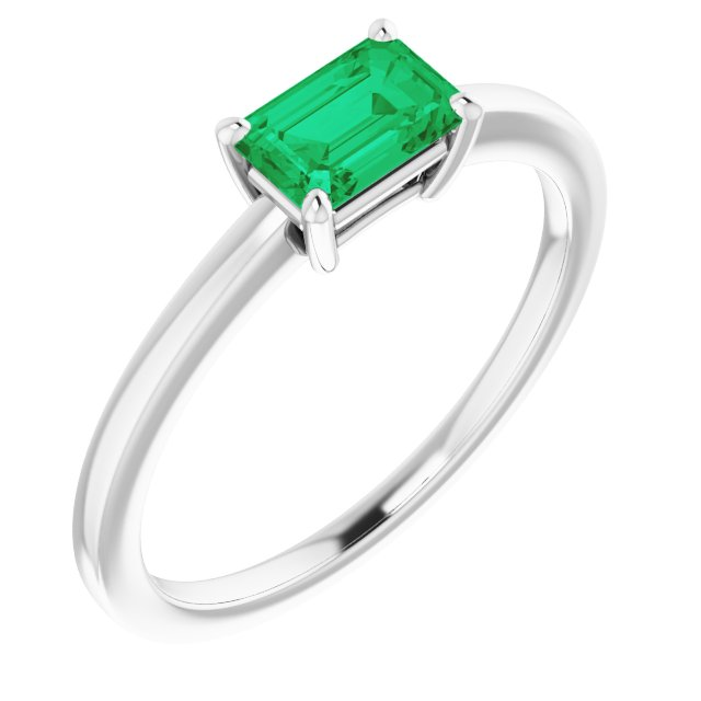 Genuine Chatham Created Emerald Ring in 14 Karat White Gold Chatham Created Emerald Ring