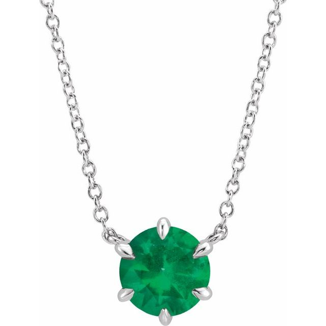 Created Emerald Necklace in 14 Karat White Gold Chatham Created Emerald Solitaire 18