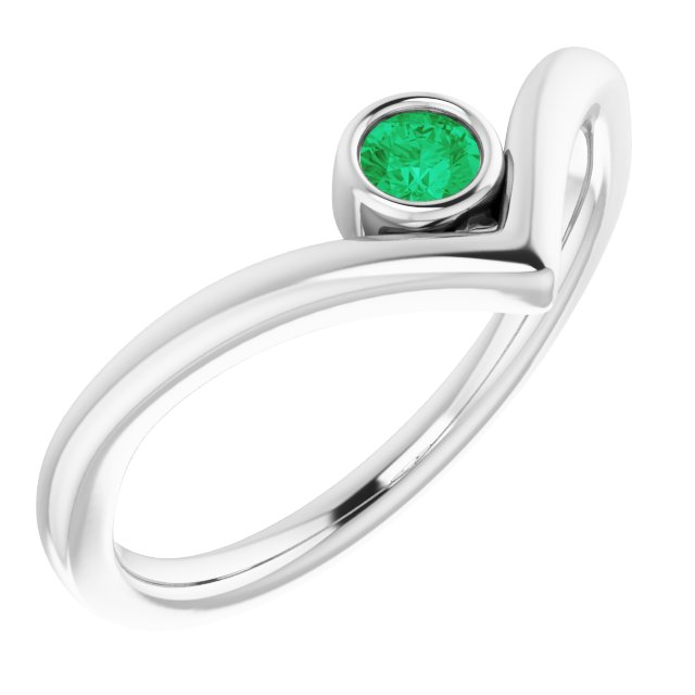 Genuine Chatham Created Emerald Ring in 14 Karat White Gold Chatham Created Emerald Solitaire Bezel-Set