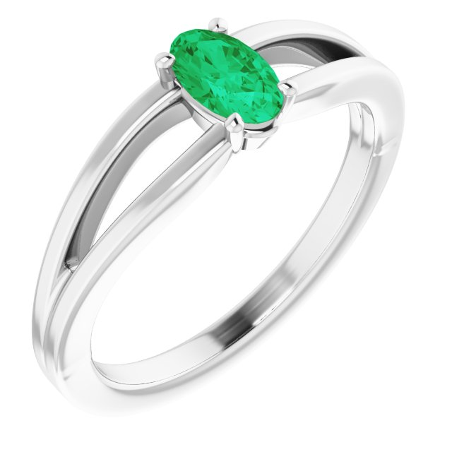 Genuine Chatham Created Emerald Ring in 14 Karat White Gold Chatham Created Emerald Solitaire Youth Ring