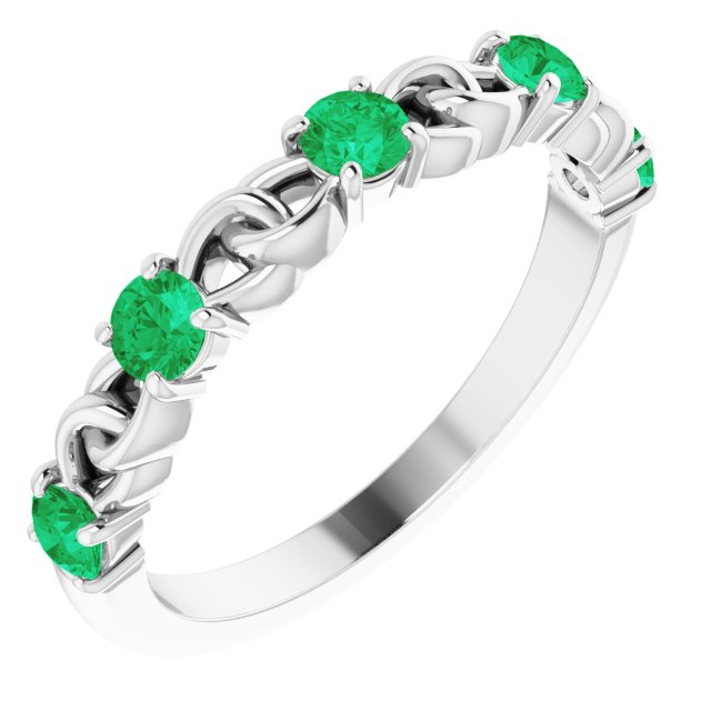 Genuine Chatham Created Emerald Ring in 14 Karat White Gold Chatham Created Emerald Stackable Link Ring