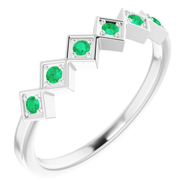 Genuine Chatham Created Emerald Ring in 14 Karat White Gold Chatham Created Emerald Stackable Ring