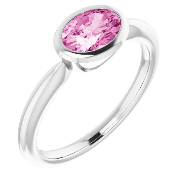 Genuine Chatham Created Sapphire Ring in 14 Karat White Gold Chatham Created Pink Sapphire Ring