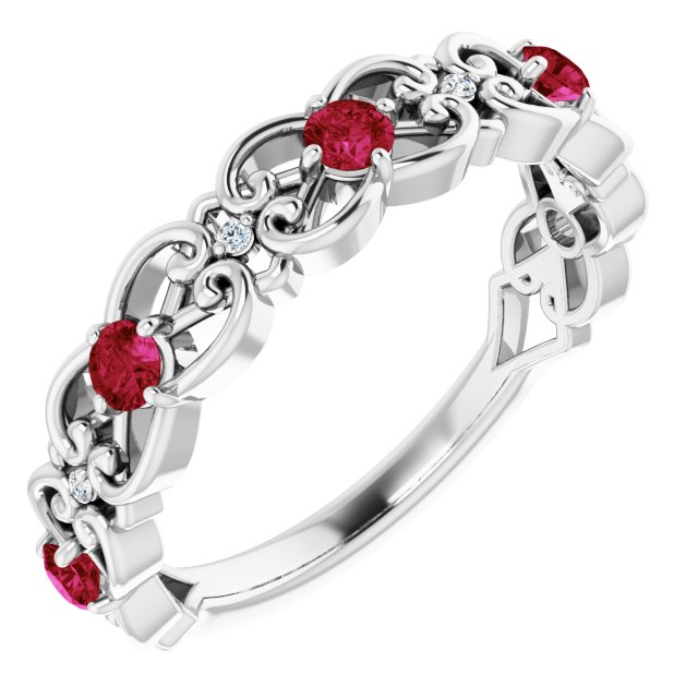 Chatham Created Ruby Ring in 14 Karat White Gold Chatham Created Ruby & .02 Carat Diamond Vintage-Inspi Scroll Ring
