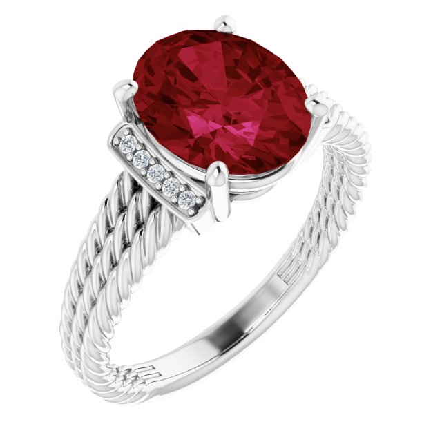 Created Ruby Ring in 14 Karat White Gold Chatham Created Ruby & .04 Carat Diamond Ring
