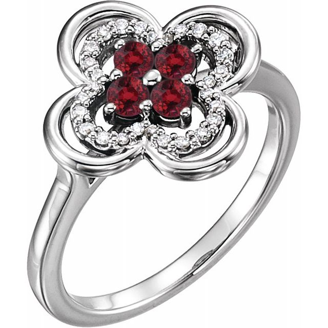 Chatham Created Ruby Ring in 14 Karat White Gold Chatham Created Ruby & 1/10 Carat Diamond Ring