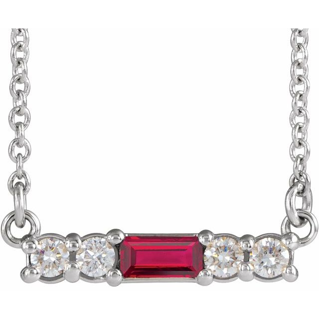 Chatham Created Ruby Necklace in 14 Karat White Gold Chatham Created Ruby & 1/5 Carat Diamond 18