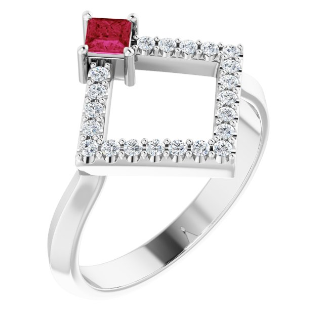 Chatham Created Ruby Ring in 14 Karat White Gold Chatham Created Ruby & 1/5 Carat Diamond Geometric Ring