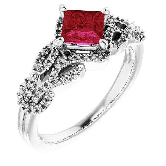 Created Ruby Ring in 14 Karat White Gold Chatham Created Ruby & 1/5 Carat Diamond Ring