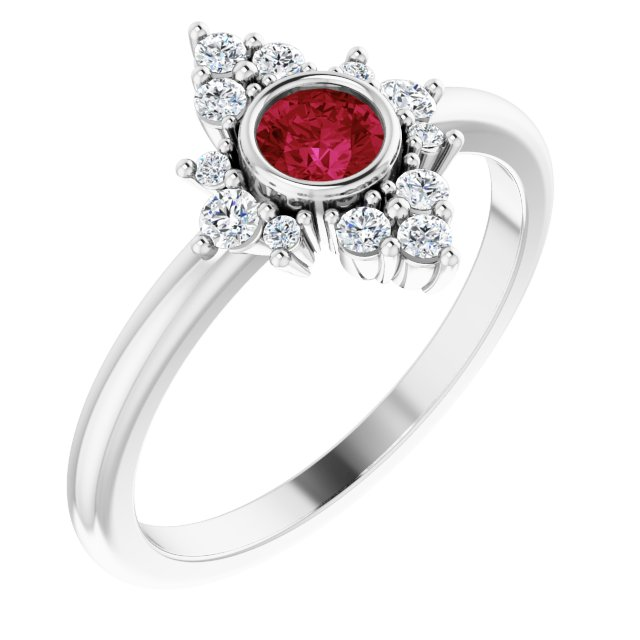 Chatham Created Ruby Ring in 14 Karat White Gold Chatham Created Ruby & 1/5 Carat Diamond Ring