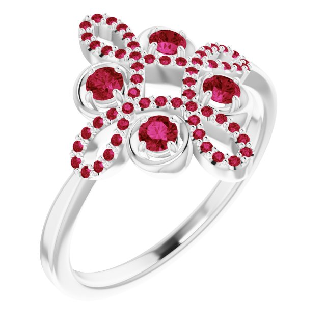 Chatham Created Ruby Ring in 14 Karat White Gold Chatham Created Ruby & 1/6 Carat Diamond Clover Ring