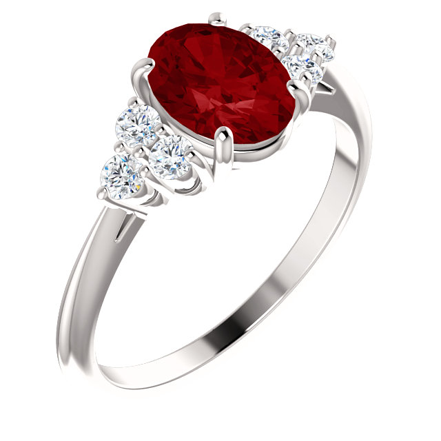14 Karat White Gold Genuine Chatham Ruby & 0.17 Carat Diamond Ring