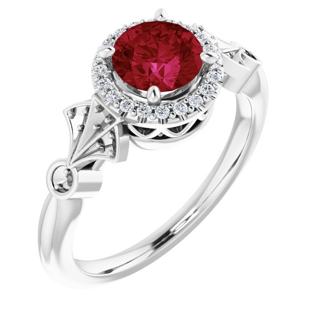 Created Ruby Ring in 14 Karat White Gold Chatham Created Ruby & 1/6 Carat Diamond Ring