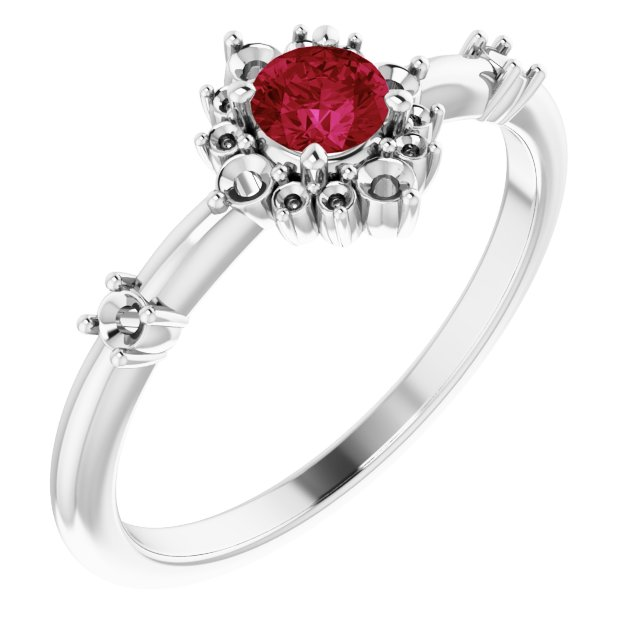 Chatham Created Ruby Ring in 14 Karat White Gold Chatham Created Ruby & 1/6 Carat Diamond Ring
