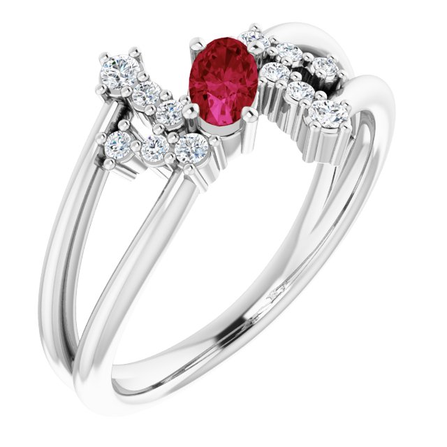 Chatham Created Ruby Ring in 14 Karat White Gold Chatham Created Ruby & 1/8 Carat Diamond Bypass Ring