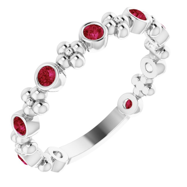 Chatham Created Ruby Ring in 14 Karat White Gold Chatham Created Ruby Beaded Ring