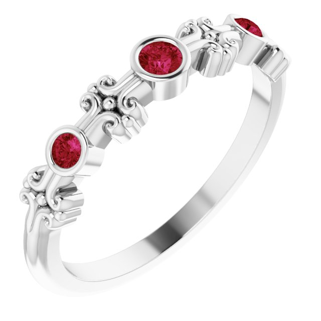 Chatham Created Ruby Ring in 14 Karat White Gold Chatham Created Ruby Bezel-Set Ring