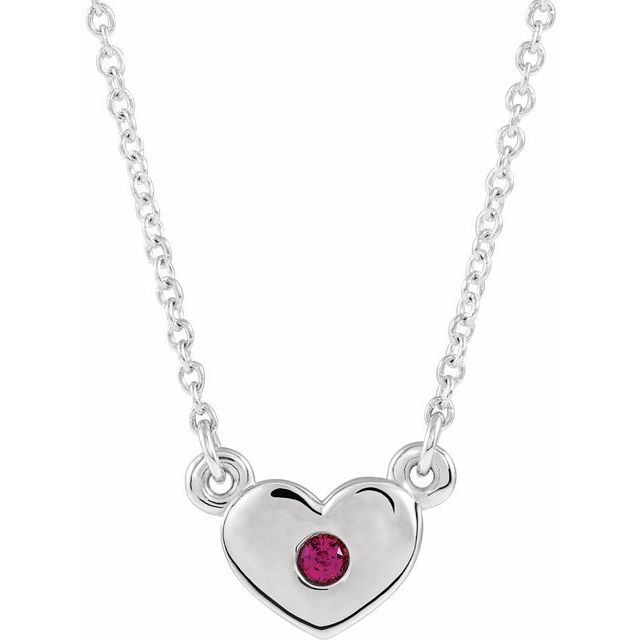 Chatham Created Ruby Necklace in 14 Karat White Gold Chatham Created Ruby Heart 16