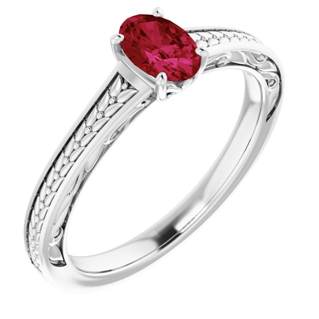 Created Ruby Ring in 14 Karat White Gold Chatham Created Ruby Ring