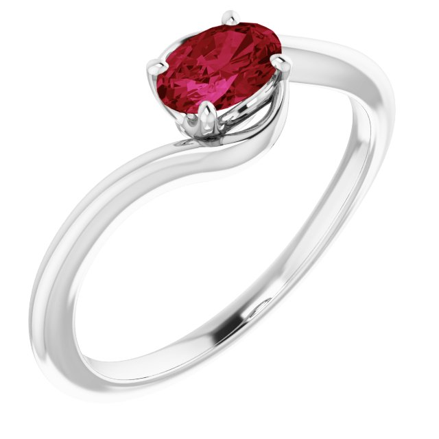 Chatham Created Ruby Ring in 14 Karat White Gold Chatham Created Ruby Ring