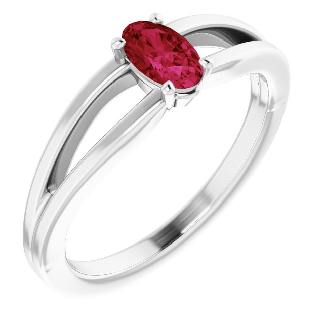 Chatham Created Ruby Ring in 14 Karat White Gold Chatham Created Ruby Solitaire Youth Ring