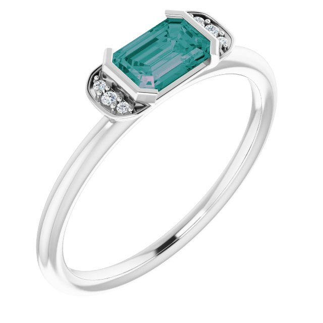 Chatham Created Alexandrite Ring in 14 Karat White Gold Chatham Lab-Created Alexandrite & .02 Carat Diamond Ring