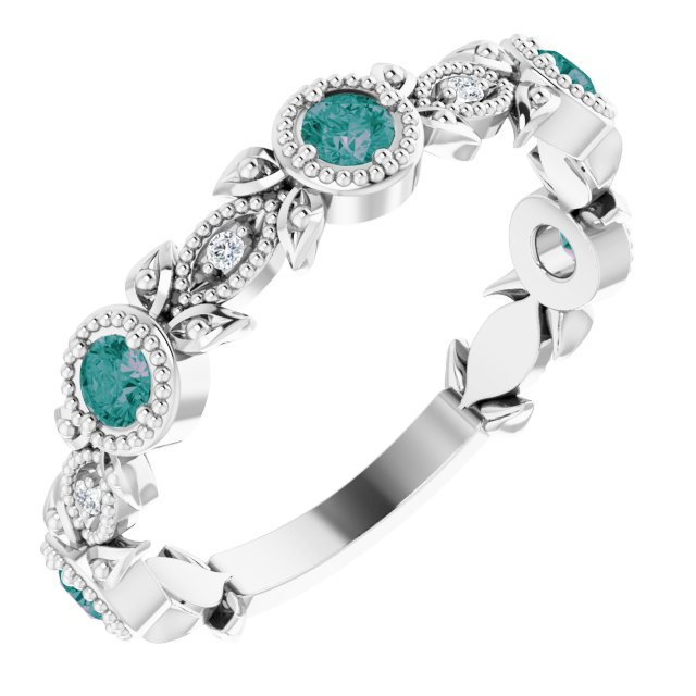 Chatham Created Alexandrite Ring in 14 Karat White Gold Chatham Lab-Created Alexandrite & .03 Carat Diamond Ring