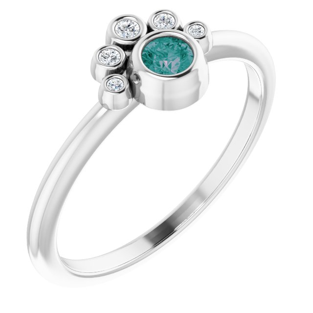 Chatham Created Alexandrite Ring in 14 Karat White Gold Chatham Lab-Created Alexandrite & .04 Carat Diamond Ring