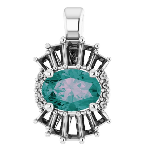 Color Change Chatham Created Alexandrite Pendant in 14 Karat White Gold Chatham Lab-Created Alexandrite & 1/3 Carat Diamond Pendant