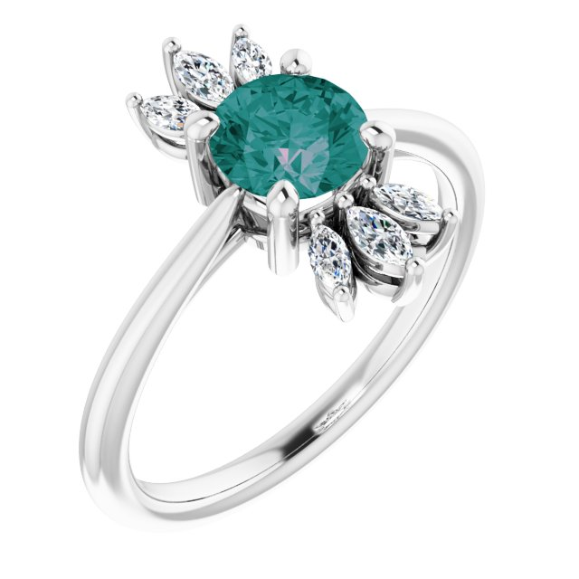Chatham Created Alexandrite Ring in 14 Karat White Gold Chatham Lab-Created Alexandrite & 1/4 Carat Diamond Ring