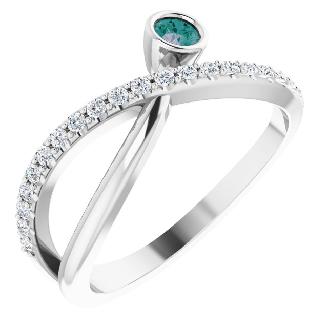 Chatham Created Alexandrite Ring in 14 Karat White Gold Chatham Lab-Created Alexandrite & 1/5 Carat Diamond Ring