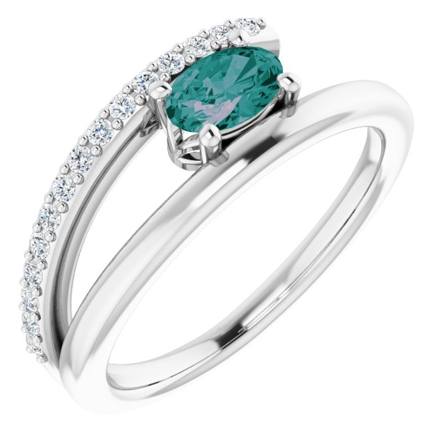 Chatham Created Alexandrite Ring in 14 Karat White Gold Chatham Lab-Created Alexandrite & 1/8 Carat Diamond Ring